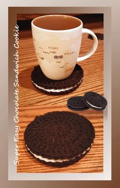 This super easy, super quick and fun chocolate sandwich cookies pattern can be used as play food, a magnet or even a coaster - be sure to use caution due to height if using as a coaster!