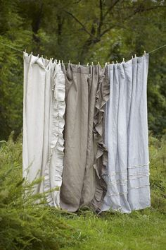 Farmhouse Linen Shower Curtain Collection–To.Die.For……Stunningly simple linen, beautifully detailed with soft ruffles. Your heart will sing!Farmhouse Linen Shower Curtains measure 72″ x 72″ and hang frombutton holes