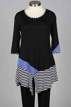 inside out - Vera Tunic Plus - Periwinkle & Black