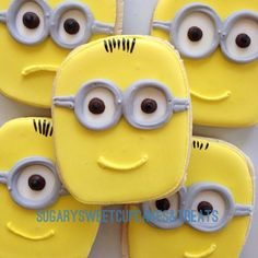 minion cookies. These look nice and easy to do and only need a few icing colours to achieve.