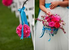 The aisle at Cedarwood - flowers and ribbons. The bright blue and pink together is a great combo for a May wedding!