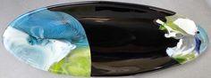"Thin Black Line  16""x6""x1.75"". Fused glass multi-process. Long oval dish. ©Linda Humphrey / KilnForms."
