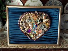 Framed Jewelry Art, Jewelry Framed Heart Collage, Mixed Media, Framed Art, Jeweled Heart, Framed Vintage Costume Jewelry Artwork,Heart Decor by VintageShopCreations on Etsy