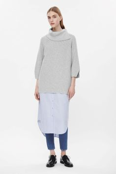 Draped high-neck jumper