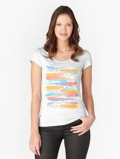 Buy 'Brush stroke tee' by NoreenMaphumulo as a Fitted Scoop T-Shirt, Fitted V-Neck T-Shirt, Relaxed Fit T-Shirt, or Premium Scoop T-Shirt Tee T Shirt, V Neck T Shirt, Pink Summer, Summer Colors, Chiffon Tops, Classic T Shirts, Shirt Designs, Blue And White, Blue Grey