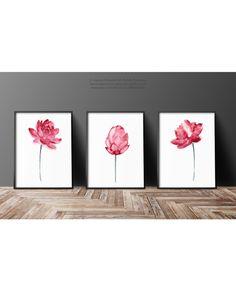 Flor de loto rosa pared arte flor de loto por ColorWatercolor