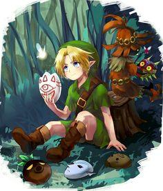The Legend of Zelda: Majora's Mask / Young Link, Tatl, Skull Kid, and Tael. The Legend Of Zelda, Legend Of Zelda Breath, Zelda Majoras Mask, Majora Mask, Ocarina Of Time, Creepypasta Anime, Fanart, Link Zelda, Twilight Princess
