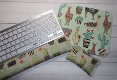 llamas succulents  Mouse pad set  mouse wrist rest  by Laa766  chic / cute / preppy / computer, desk accessories / cubical, office, home decor / co-worker, student gift / patterned design / match with coasters, wrist rests / computers and peripherals / feminine touches for the office / desk decor