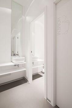 Corporate Interiors restroom, full height mirror
