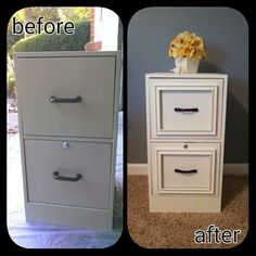 DIY Filing cabinet makeover - used epoxy to attach cheap 8x10 frames from walmart, painted entire thing using homemade chalk paint in swiss coffee color, then added new hardware and finished it with minwax paste wax to guard against scuffs and scratches.