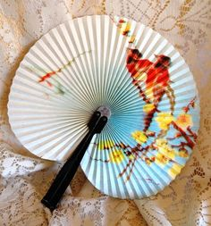 Vintage Bird Round Fan Made in the PRC by IndulgeYourShelf on Etsy, $9.00