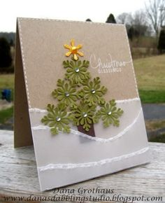 Snowflake #Chistmas tree with vellum snow #card by jana