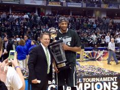 Adreian Payne and Coach Tom Izzo. Michigan State is the 2014 BIG Ten Champions!! Go Spartans! Way to beat U of M!