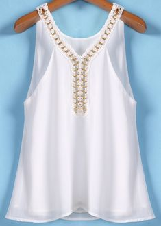 To find out about the White Chain Spaghetti Strap Chiffon Vest at SHEIN, part of our latest Tank Tops & Camis ready to shop online today! Blouse And Skirt, Blouse Dress, White Shirts Women, Blouses For Women, White Ruffle Blouse, Modelos Fashion, Dress Neck Designs, Dressy Tops, Red Blouses