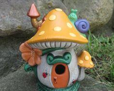 Fairy  house, handmade mushroom house, polka dot house,  tea light holder, fairy garden house, cute fae house, chimney, flowers, windows