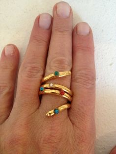 Snake wrap ring dipped in 24 K gold with by BettinasCollection, $35.00