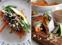 Sexy Spring Rolls...why are they so sexy? replaced the calorie-devoid noodles with a crispy, ginger-kissed carrot-sweet potato salad that actually boasts flavour and nutrition
