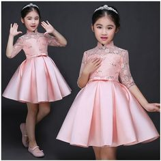 Baby Girl Kid Evening Party Dresses For Girl Wedding Princess Clothing 2017  New Solid Color Bow Moderator Dress Children Clothes d70186367f8f