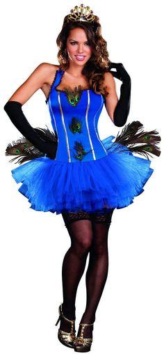 Sexy Royal Peacock Blue Tutu Dress Costume Adult