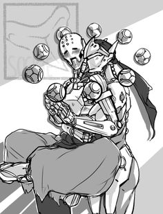 Doodle-Do! Genyatta doodle for @lovely-little-monstrosities - it's been in my inbox for a little while and it was too cute not to draw! Zenyatta loves hugs. Genji loves Zenyatta. It's a win-win situation.
