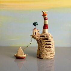 Ceramic sculpture miniature lighthouse miniature by ednapio