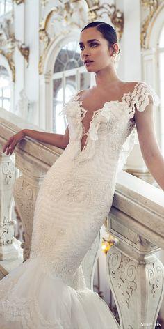 nurit hen 2016 bridal flutter sleeves split sweetheart neckline mermaid lace wedding dress (06) romantic zv