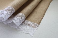 110cm x 52cm Natural Hessian / Burlap & Lace Table Runner (Country / Rustic / Barn Wedding Props Decor) Australia