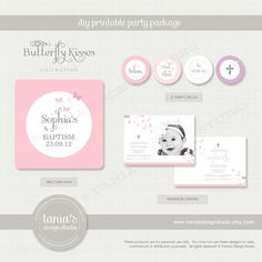 Butterfly Kisses Baptism Printable Birthday Party Package by tania's design studio