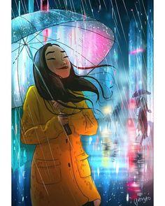 Illustrator Yaoyao Ma Van As. Yaoyao Ma Van As, or shortly YaoYao art director, painter, illustrator, and occasional animator. For more view website Cartoon Girl Drawing, Cartoon Art, Manga Drawing, Drawing Tips, Art Drawings Sketches, Cool Drawings, Hipster Drawings, Pencil Drawings, Rain Illustration