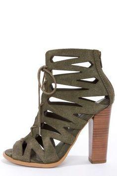 Khaki Suede Lace-Up Peep Toe Heels