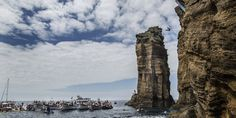 Islet of Vila Franca do Campo, São Miguel, Azores, Portugal on July 26 2014, part of the Red Bull Cliff Diving World Series - via HuffPostTravel 03.06.2014 | Off the coast of São Miguel sits the craggy islet of Vila Franca do Campo. At the center of the islet is a circular natural lake.