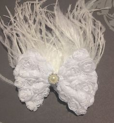 Fancy Girl Wedding White Rosette Bow Ostrich Feather & Pearl Hair Clip.  Buy it on Etsy.  Handmade in Brooklyn by FancyGirlBoutiqueNYC, $24.00