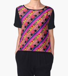 'Colorful Boombox Retro Pattern' Chiffon Top by HavenDesign Retro Pattern, Boombox, Chiffon Tops, Fitness Models, Graphic Tees, Corner, Colorful, Mens Fashion, Sleeves