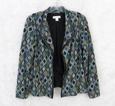 Womens CHRISTOPHER & BANKS Diamond Print Open Front Lined Knit Blazer Size M #ChristopherBanks #Blazer