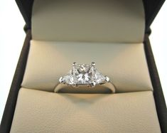Princess Cut Diamond Ring With Trillion Side Stones #princesscutring