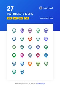 Map Objects   Icon Pack - 27 Flat Icons