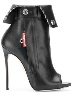 "Dsquared2 ""Biker Ankle Boot"" in black leather with silver-tone stud and zipper detailing, brand ""patch"", fold-down top, peep toe and very high stiletto heel 
