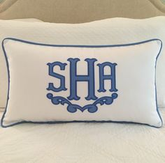 Monogrammed Appliqué Pillow Cover by peppermintbee on Etsy