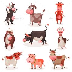 Cow Characters Set