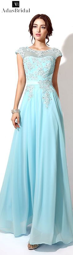 In Stock Stunning Chiffon Bateau Neckline Full-length A-line Prom Dresses With Beaded Lace Appliques