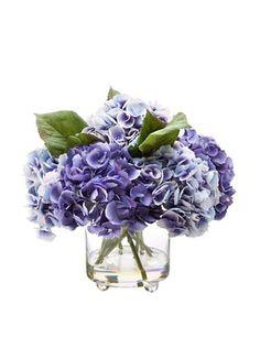 """14.5"""" Hydrangea in Glass Vase, Blue/Purple"""