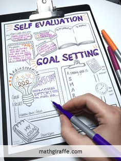 """Goal Setting for Students - Doodle Style Self Evaluation and SMART Goal Planning Sheet """"Goals are the principles insights essential truths or ahas! that students should walk away with"""" pg 46 School Goals, Student Goals, Student Data Tracking, High School Students, High School Art, Goal Setting For Students, Goal Setting Sheet, Smart Goal Setting, Setting Goals"""