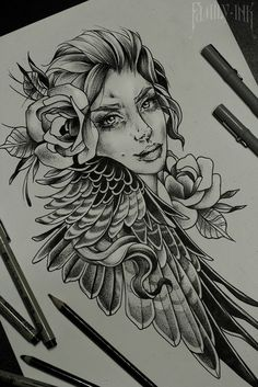 Girl face sketch by Family Ink #blacktattooart #tattoosketch #rosetattoo #art…