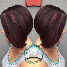 🍒🍂Cherry🍫Chocolate🍒🍃 using all Schwarzkopf color ❤️ Black Cherry Red Hair, Chocolate Cherry Hair Color, Cherry Hair Colors, Black Hair, Bob Hair Color, Rockabilly Hair, Hair Brained, Short Bob Hairstyles, Hair Highlights