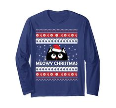 Amazon.com: Meowy Cat Ugly Christmas Sweater Long Sleeve T-Shirt: Clothing
