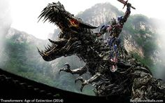 Transformers: Age of Extinction - the leader of the autobots Optimus Prime and Grimlock as Tyrannosaurus Rex.