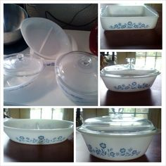 6 piece Blue flowered Anchor Hocking Ovenware. $50 or 2qt cassarole$30, divided oval platter $10, 1qt. Oval loaf pan with lid $15, square 8inch pan $15 Perfect shape