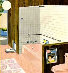 notice the pink toilet paper. my grandma only kept pink toilet paper in her house. Oak Bathroom, Bathroom Hardware, Small Bathroom, Master Bathroom, Mid Century Decor, Mid Century House, 1960s Interior, Pink Toilet, 1960s Decor