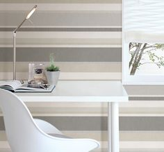 """Love this """"railroad"""" wallpaper application for a sophisticated horizontal grey stripe wall. Also adore the white tulip chair! A beautiful midcentury modern office decor idea Beige Linen Stripe - Raya - Simple Space 2 Wallpaper By Beacon House Grey And Green Wallpaper, Modern Wallpaper, Home Wallpaper, Linen Stripe Wallpaper, Embossed Wallpaper, Gray Striped Walls, Grey Walls, Painting Stripes On Walls, Paint Stripes"""