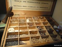 Typical student's box of natural ingredients used to mix powders and cures to treat patients in the 1800's. Via The Attic at Old Guy's/St Thomas Hospital, London © Suzi Love